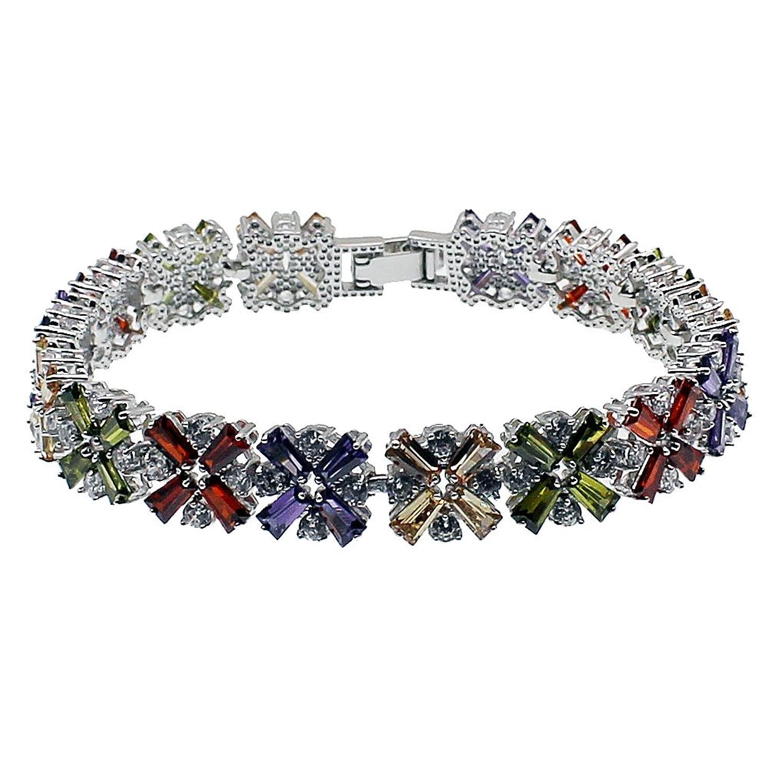 "HERMOSA Fashion Bracelet Garnet Emerald Amethyst Morganite Peridot Topaz Plated Silver Bracelets 7"""