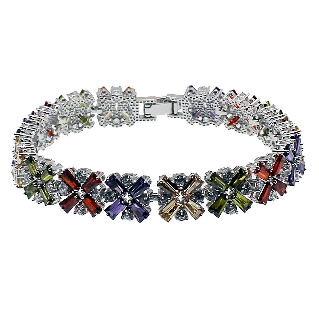 HERMOSA Fashion Jewelry Tennis Bracelet Garnet Emerald Amethyst Morganite Peridot White Topaz Plated Silver Bracelets 7 inch (Multi Gemstone)