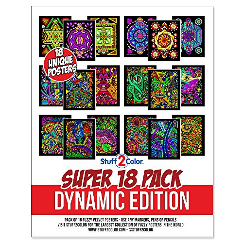 Super Pack of 18 Fuzzy Velvet Coloring Posters (Dynamic Edition) -