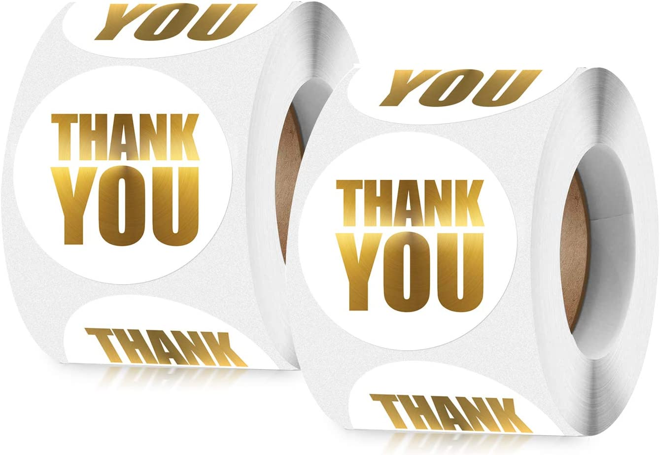 1 Inch Thank You Stickers Roll 1000pcs - White Gold Foil Small Business Adhesive Circle Labels, Perfect for Customer Appreciation, Envelope Seals, Packaging, Gift Bags, Bakery Cupcakes Decor, Wedding