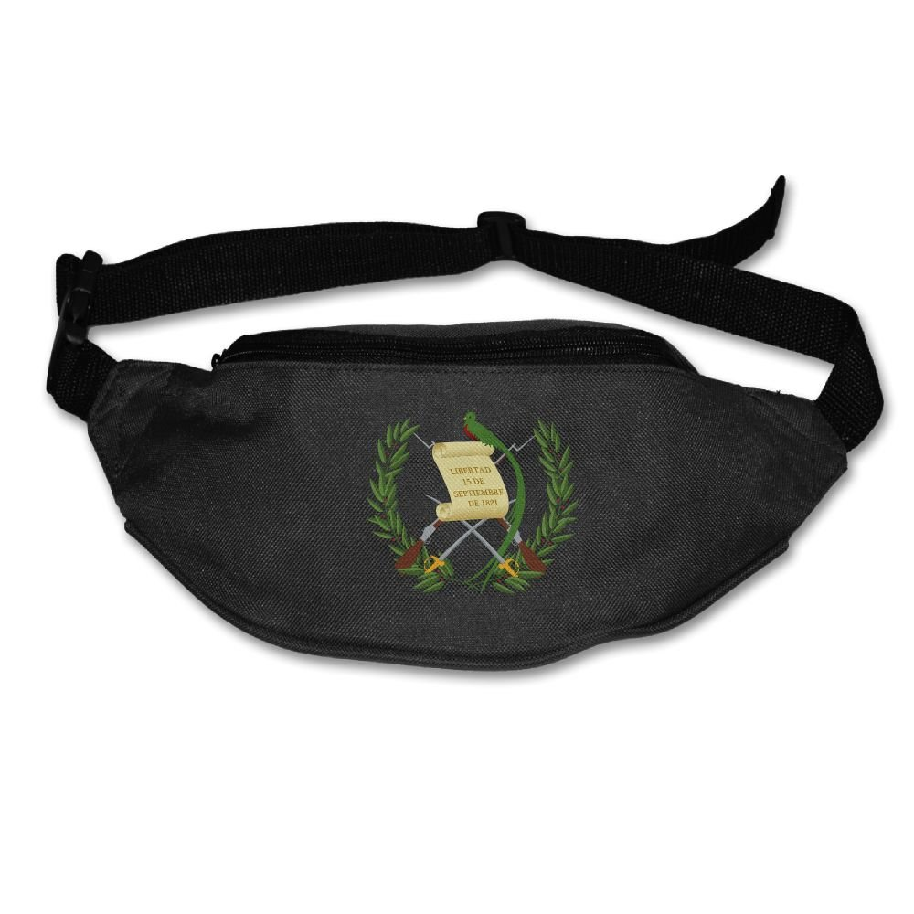 Heard Me Unisex Coat Of Arms Of Guatemala Fanny Pack Waist Bag Phone Holder Adjustable Running Belt For Cycling,Vacation,Hiking,Gym Black