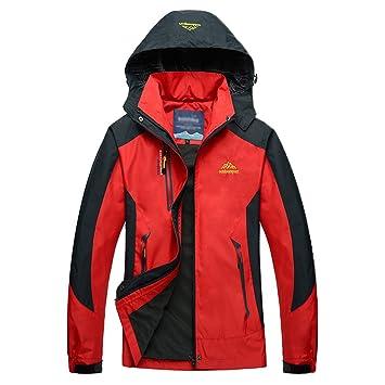 Guiran Hombre/Mujer Al Aire Libre Montaña Impermeable Windbreaker Softshell Chaqueta con Capucha Rojo 1