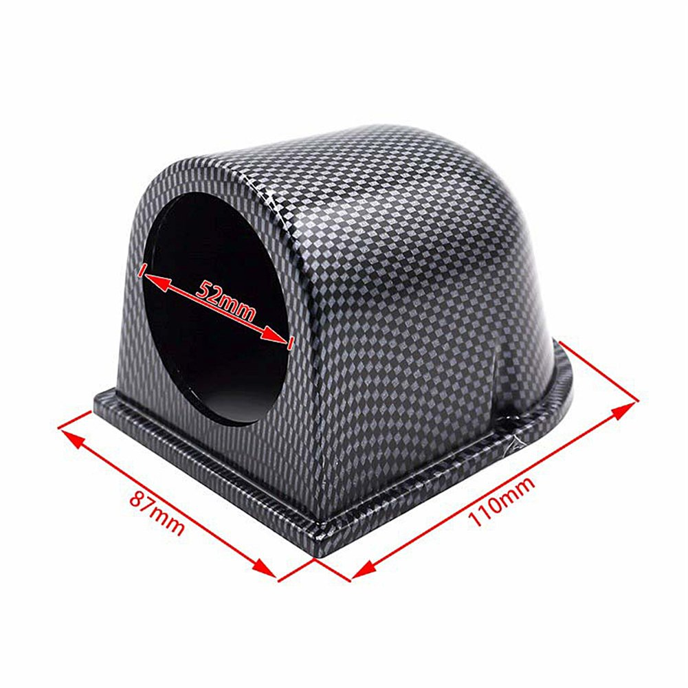 Universal 2 52MM Car Auto Gauge Holder with Glossy Carbon Fiber ABS Material Single Hole Gauge Meter Mount Pod Cup Holder Instrument Holder for Car Gas//Temp//Voltage//Turbo Boost Gauge
