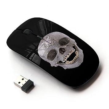 Ratones ópticos Ratón inalámbrico móvil 2.4G portátil para portátil, PC, ordenador portátil, ordenad (Dientes Arte calavera de cristal antiguo arqueología ...