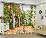 Dbtxwd Blackout Thicked Curtains,3D Back yard Vine wall print Window Drapes,Bedroom Living room , wide 3.6x high 2.7