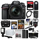 Nikon D7500 Wi-Fi 4K Digital SLR Camera with 18-300mm VR DX Lens, Case & 32GB Card + Flash + Mic + Video Light + Battery & Charger + 3 Filters Kit For Sale