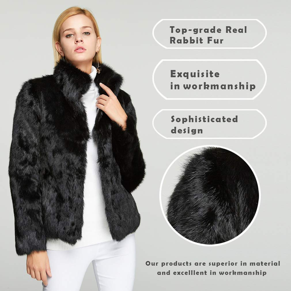 Fur Story Womens Real Rabbit Fur Coat with Mandarin Collar Warm Fur Jacket for Winter