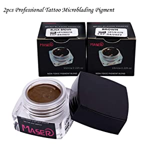 Microblading Kit-BIOMASER Permanent Makeup Tattoo Eyebrow Microblading Manual Pen Set with Blades Eyebrow Ruler Practice Skin Ring Cup Microblading Pigments for Eyebrows