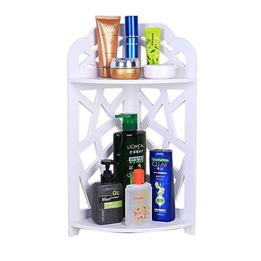 Honean Bathroom Corner Shelf Rack(No Drilling) Wood Plastic 2-Tier Storage Organizer Unit Adhesive Shower Caddy, White
