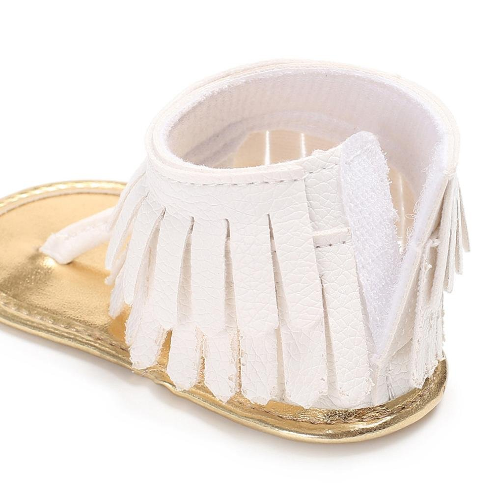 Voberry Toddler Baby Girls Tassel Sandals Soft Soled Anti-slip Fringe Footwear Shoes (0-6 Month, White 1) by Voberry (Image #6)