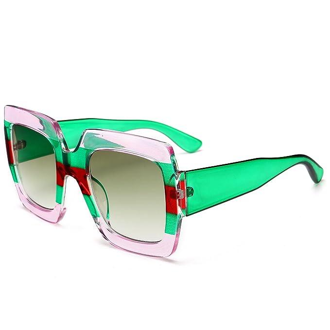 be54f3227b81 Square-Frame Color Block Sunglasses Women Fashion Stripe Plastic Eyeglasses  (C1)
