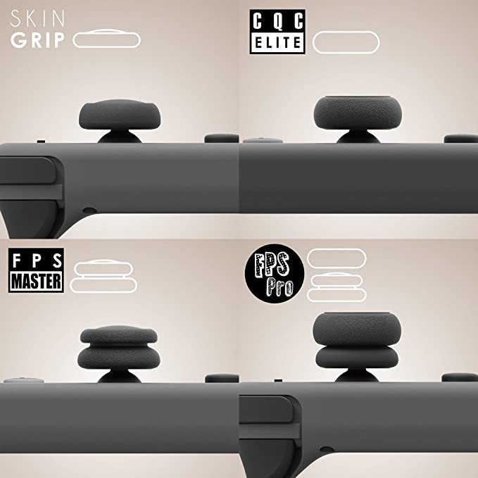 Skull & Co  Skin, CQC and FPS Thumb Grips Set Joystick Cap Analog Stick Cap  for Nintendo Switch Joy-Con Controller - Black, 3 Pairs(6pcs)