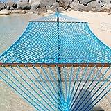 Caribbean Rope Hammock - 55 Inch - Soft-Spun Polyester (light blue)