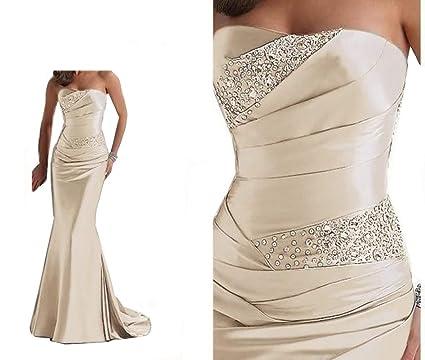 6b7a76e082 Silver Grey Evening Long Silk Satin Mermaid Shining Crystals Beaded Dress