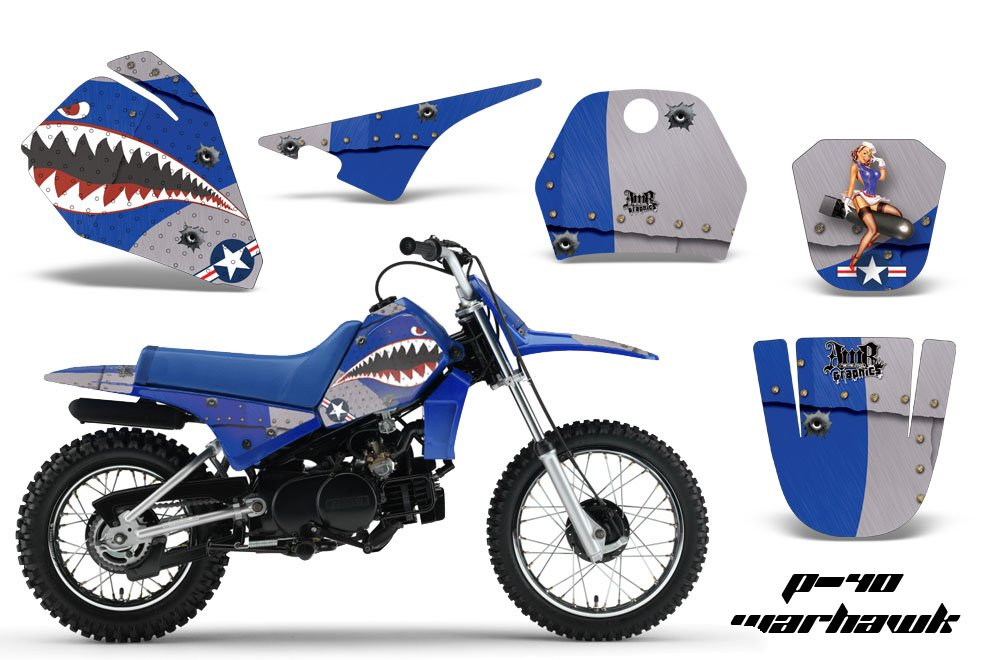 Yamaha PW80 1996-2006 MX Dirt Bike Graphic Kit Sticker Decals PW 80 WARHAWK BLUE Amrracing