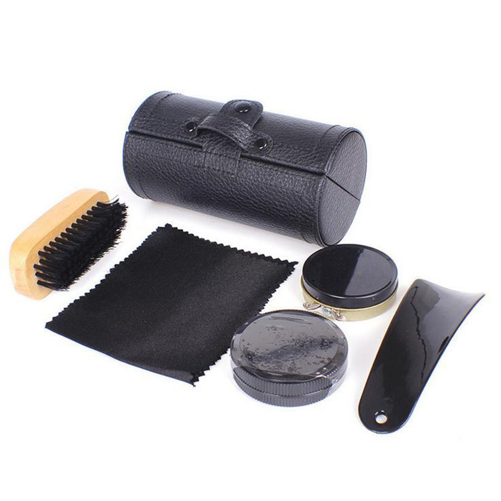 Boshiho 5 In 1 Shoe Care Kit Travel Shoe Shine Brush Kit with PU Leather Sleek Elegant Case