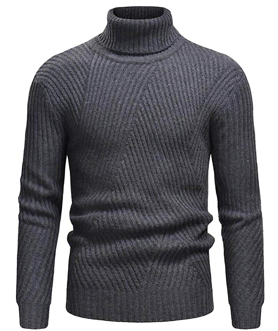 Spirio Mens Ribbed Cable Knit Turtleneck Thicken Long Sleeve Pullover Sweater