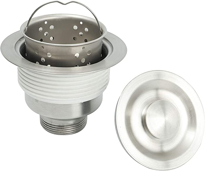 Kitchen Sink Strainer Assembly, Sink drain 304 Stainless Steel with Removable Deep Waste Basket and Sealing Lid 3-1/2-inch Silver