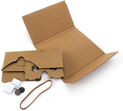GMYLE Google cartón DIY Kit, Visor de Realidad Virtual 3D Gafas de cartón con Gruesa Banda de Caucho para teléfonos Inteligentes de 4.4 a 5.5 Pulgadas: Amazon.es: Electrónica