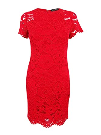 6de42ab8 Lauren Ralph Lauren Women's Petite Lace Sheath Dress (6P, Red) at Amazon  Women's Clothing store: