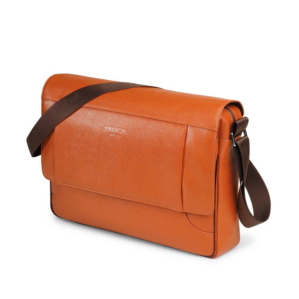 Giorgio Fedon Orion Pelle Borsa Messenger, colore: arancione