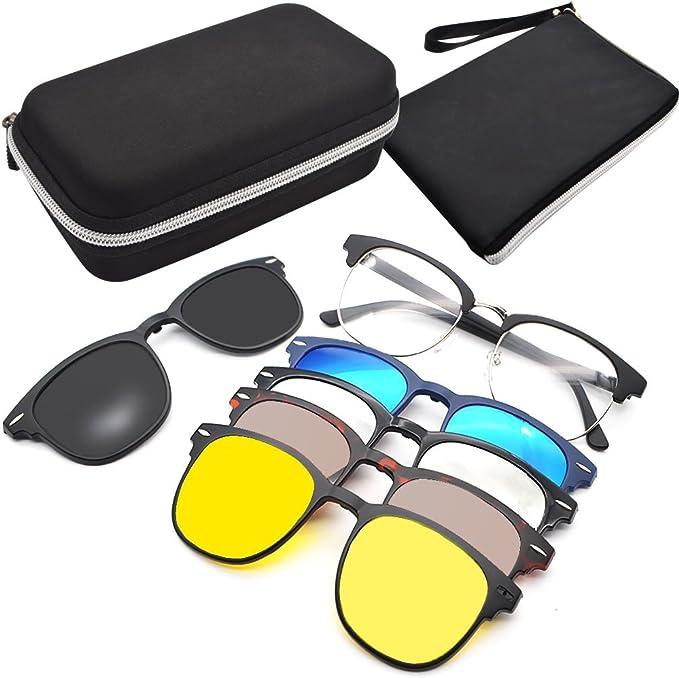GreeSuit Clip On Occhiali da Sole Lenti Clip On Magnetiche Occhiali da vista con montatura in metallo 6 in 1 e occhiali ottici da guida con lenti
