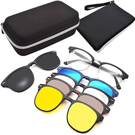df337edfaa GreeSuit Lunettes de soleil clip-on 6 en 1 lunettes de cadre en métal avec