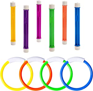 FULLSEXY Underwater Swimming Pool Diving Rings, Diving Sticks Toys for Kids Gift Set, Training Dive Rings Sticks Toys for Learning to Swim (A1)