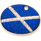 Reflective Glitter Round Scottish Saltire Flag Design Dog/Cat Pet ID Tags Engraved.......TO LEAVE ENGRAVING DETAILS PLEASE READ PRODUCT DESCRIPTION LOWER DOWN THIS PAGE.