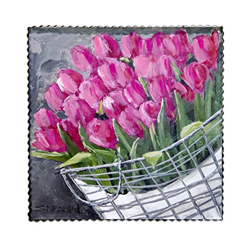 (The Round Top Collection Gallery Basket of Tulips/Metal & Wood)