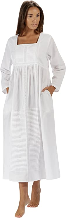 Vintage Nightgowns, Pajamas, Baby Dolls, Robes The 1 for U Nightgown 100% Cotton Womens Long Nightie with Pockets - Esther $44.99 AT vintagedancer.com