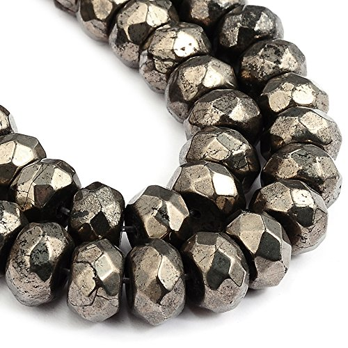 RUBYCA Pyrite Gemstone Rondelle Natural Loose Beads AAA Grade Jewelry Making (1 strand, 64pcs)