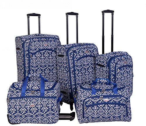 american-flyer-aztec-spinner-luggage-set-5pc-blue