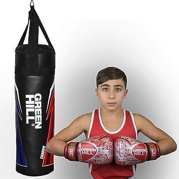 GREEN HILL Sacco da Boxe Bambino Similpelle Pugilato Pieno Boxing Punching Bag Saccone Riempito