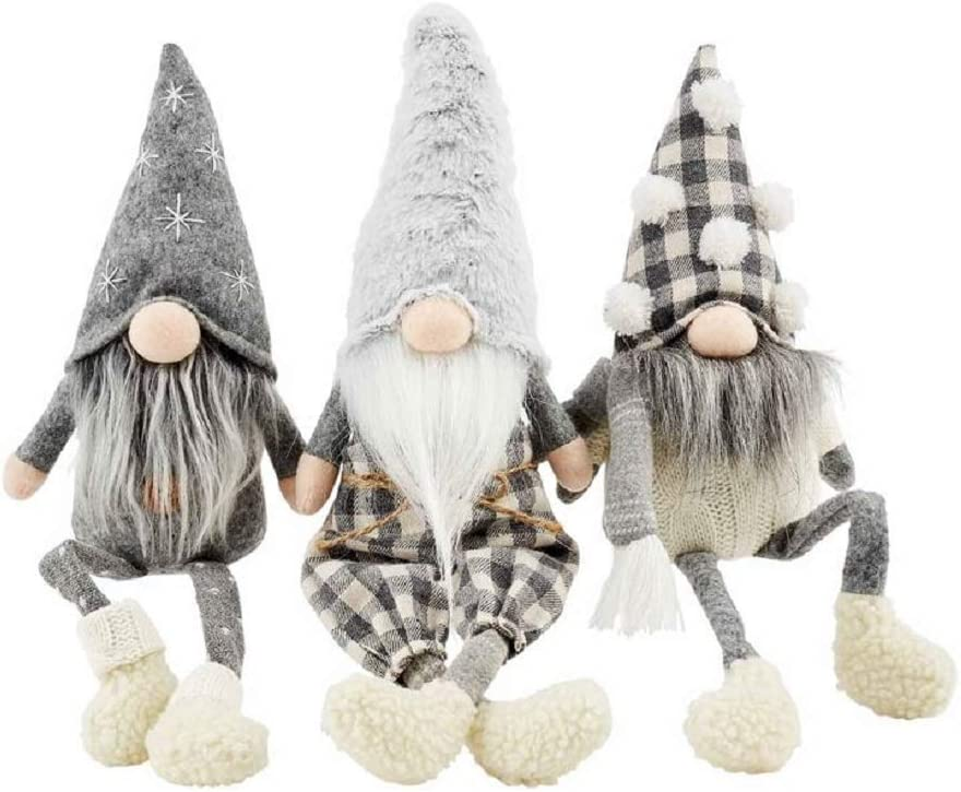 "Mud Pie Set of 3 Neutral Dangle Leg Gnomes, 9"" x 4""."