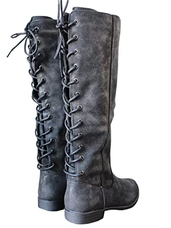 2273962c5a9 Amazon.com  Womens Laced-up Knee High Riding Boots Side Zipper Chunky Low  Heel Faux Leather Shoes  Clothing