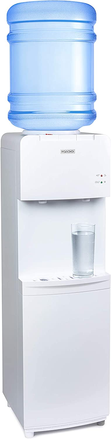 Igloo IWCTL352CHWH Hot & Cold Top-Loading Water Cooler Dispenser, Holds 3 & 5 Gallon Bottles, Child Safety Lock, Perfect For Homes, Kitchens, Offices, Dorms, White