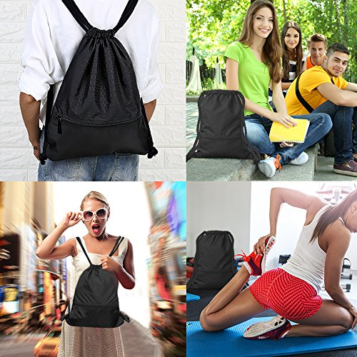 Drawstring Bag With Pockets Waterproof Sports Gym Bag with Large Capacity (Black) by Tosun (Image #6)
