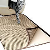 Goetland Jumbo Cat Litter Mat Trapper Kitty 29.5x22 Honeycomb Design Non-Toxic Anti-Slip Waterproof, Beige