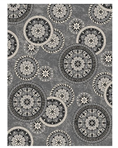 Adgo Collection, Modern Live Gray and White Contemporary Wheel Design Rubber-Backed Non-Slip (Non-Skid) 5x7 Area Rugs| Thin Low Profile Indoor/Outdoor Floor Rug White Indoor Outdoor Rugs