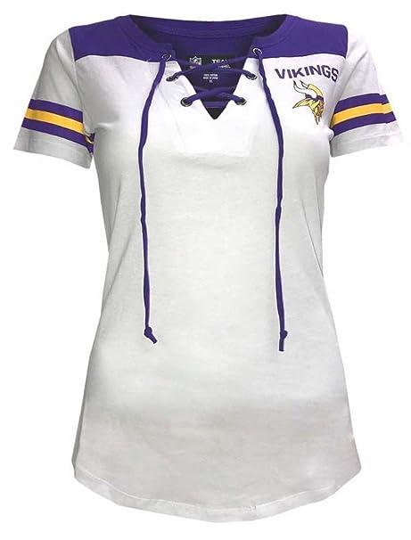 New Era Minnesota Vikings Women s Sleeve Striped Lace-Up T-shirt X-Small e8a127661