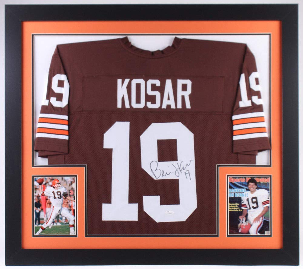 Bernie Kosar Autographed Signed Cleveland Browns 31X35 Deluxe Framed Brown Jersey - JSA Certified