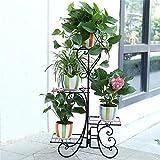 Plant Stand,UNHO Metal Flower Display pots Outdoor Garden Plant Holder with 4 Tier Shelves for Indoor Black