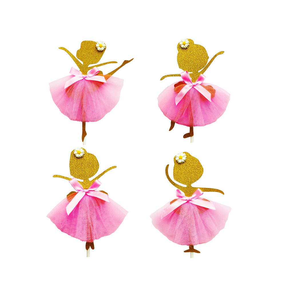 4Pcs BIG Glitter Ballerina with 3D Tutu Topper Tulle Cake Sales for sale for Gi Excellent