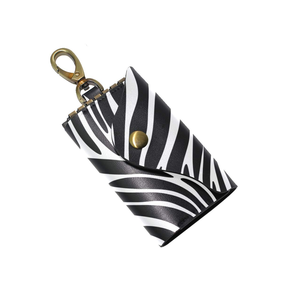KEAKIA Zebra Textures Leather Key Case Wallets Tri-fold Key Holder Keychains with 6 Hooks 2 Slot Snap Closure for Men Women