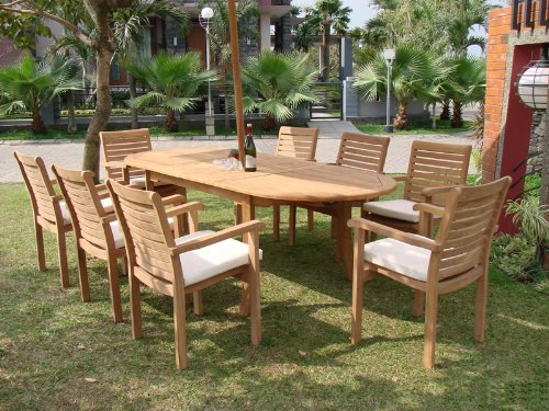 "TeakStation 6 Seater Grade-A Teak Wood 7pc Dining Set: 94"" Oval Table and 6 Hari Stacking Arm Chairs #TSDSHR4"