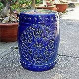 International Caravan Isfahani Ceramic Garden Stool in Navy
