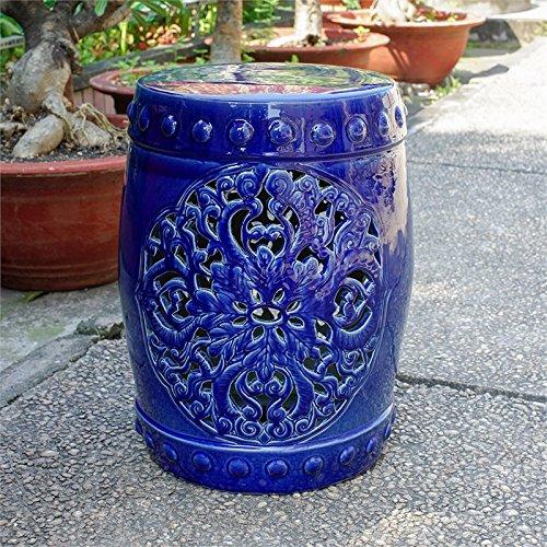 International Caravan Isfahani Ceramic Garden Stool in Navy by International Caravan