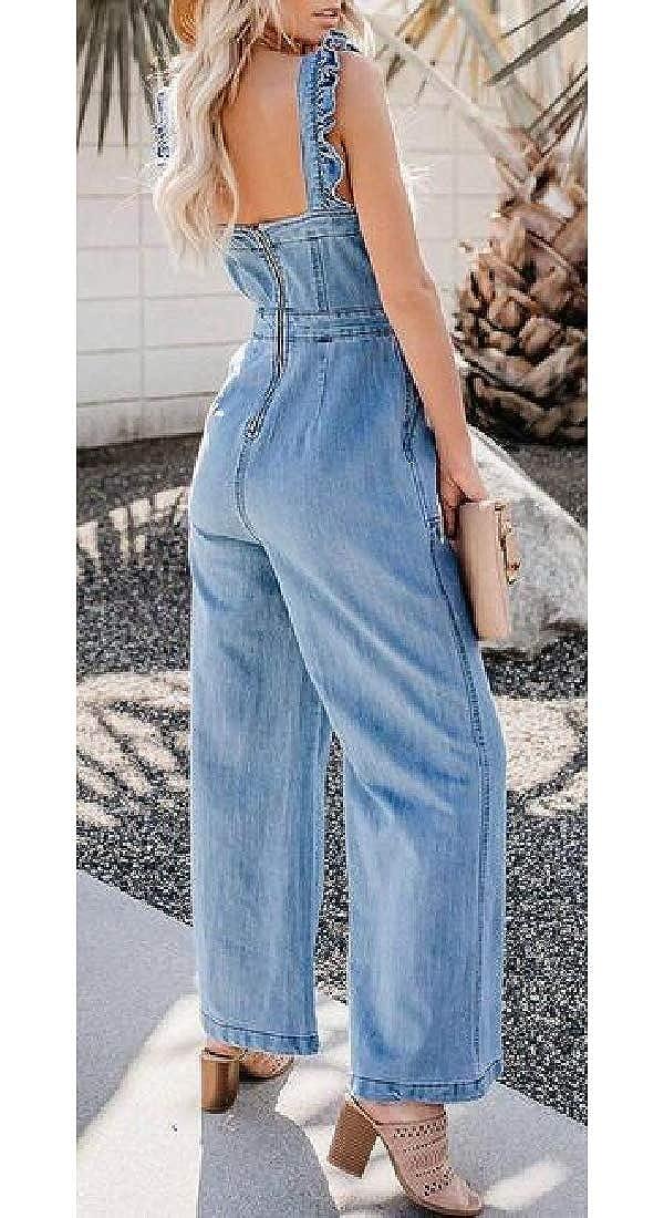 YYear Women Sleeveless Denim Ruffle Wide Leg Palazzo Jeans Pants Summer Jumpsuit Romper