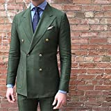 BOwith Double Breasted Green Men Suits terno Slim Fit 2 Pieces Party Tuxedo For Men